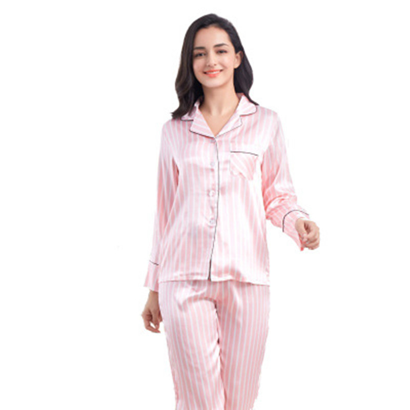 Rayon Silk Pajamas Set Women Sexy Stripe Pink Pyjama Long Shirt Pants Female Homewear 2Piece/Set 2020 Sleepwear