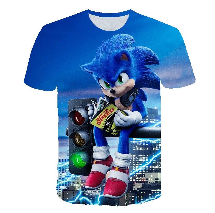 Новинка, одежда для девочек с изображением Ежика Sonic, Детская футболка 3D, летние топы, одежда для маленьких мальчиков, летняя мультяшная аним...