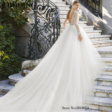 Amazing Ball Gown Long Wedding Dress Lace For Bride Boat Neck Neckline Vestidos De Novia  Plus Size Prom Wedding Party Dress