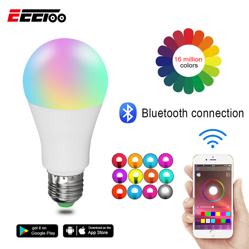 EeeToo RGB Bluetooth 4.0 LED Smart Bulb E27/B22 15W APP Music Voice Control Smart Light Lamp Multiple Colors LED Light For Home
