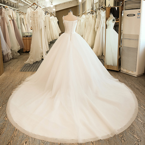 Image 2 - SL 5058 Cheap Sample Bow Wedding Bridal Dress Corset Ball Gown Satin Wedding Dress