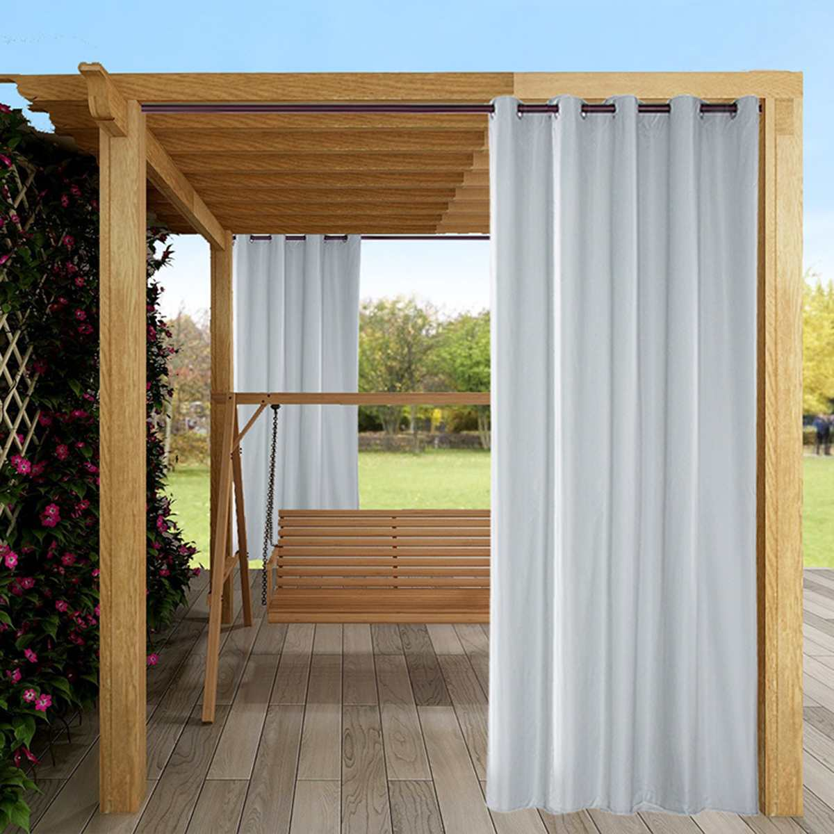 outdoor waterproof curtain tab top thermal insulated blackout curtain drape for patio garden front porch gazebo