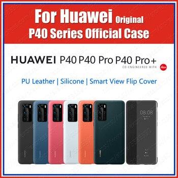 Перейти на Алиэкспресс и купить Официальный чехол Huawei P40 Pro 2020, оригинальный мягкий силиконовый чехол P40 Pro Plus, чехол из искусственной кожи с откидной крышкой и окном для прос...