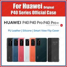 Official Huawei P40 Pro Case 2020 Original Soft Silicon Rubber P40 Pro Plus Case Cover PU Textile Leather Smart Flip view window