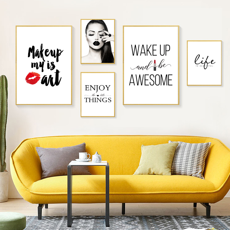 New Makeup Girl Wall Pictures Art Print Life Beautiful Canvas Painting Red Lip Art Poster Eyelash Wall Decor Hd2705 Painting Calligraphy Aliexpress