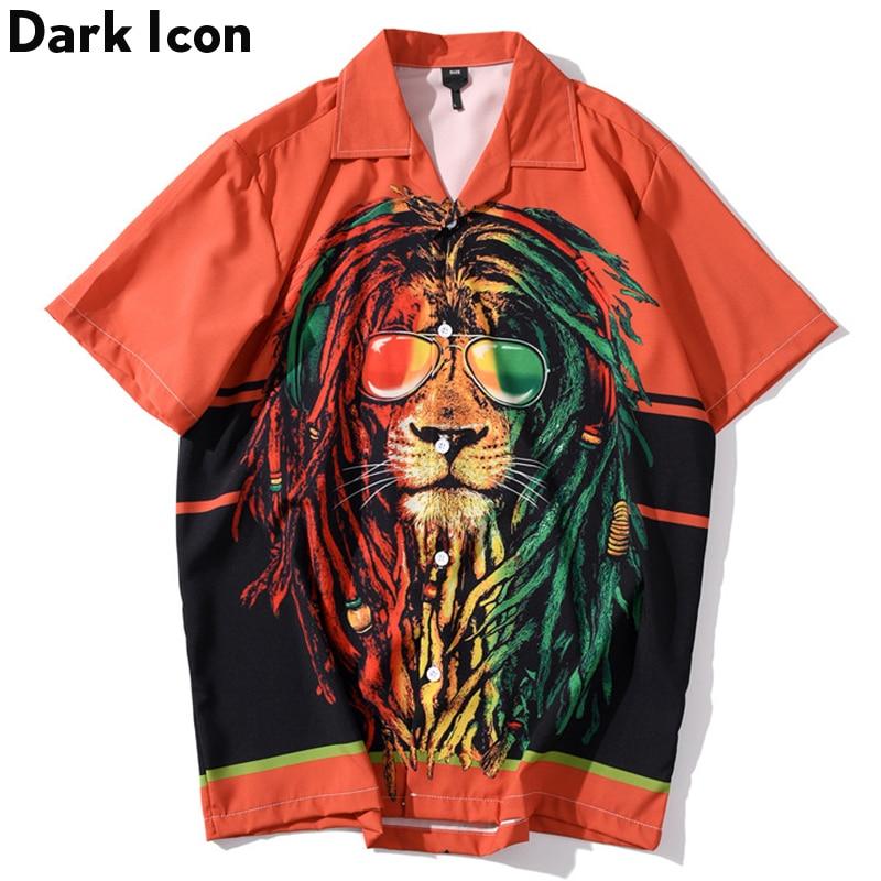 DARK ICON Lion King Printed Hip Hop Shirt Men Street Oversized Men's Shirts 2020 Summer Hawaii Shirts For Men