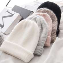 Skullies Beanies Soft-Hats Winter Hat Bonnet Women Rabbit Fur Knitted Wool Warm Girls