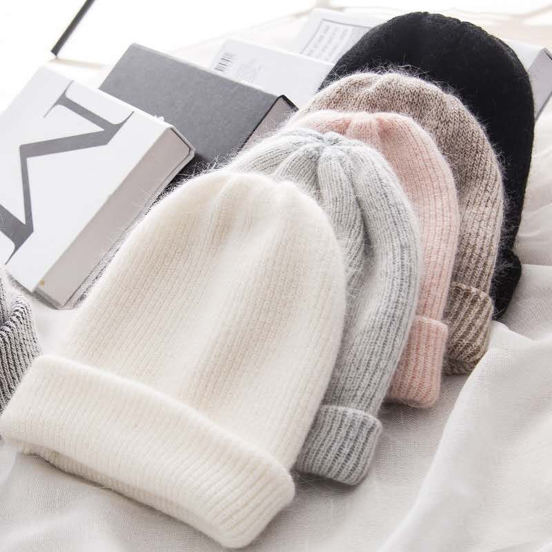 Women Knitted Winter Hat Female Warm Rabbit Fur Beanie Girls Solid Bonnet Women Skullies Beanies Soft Hats Wool Beanies