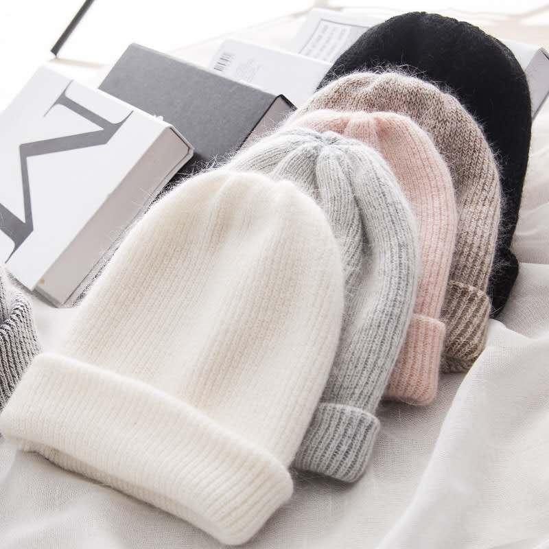 Women knitted Winter Hat female Warm Rabbit fur   beanie   Girls Solid Bonnet women   Skullies     beanies   Soft Hats wool   beanies