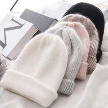 Women knitted Winter Hat female Warm Rabbit fur beanie Girls Solid Bonnet women