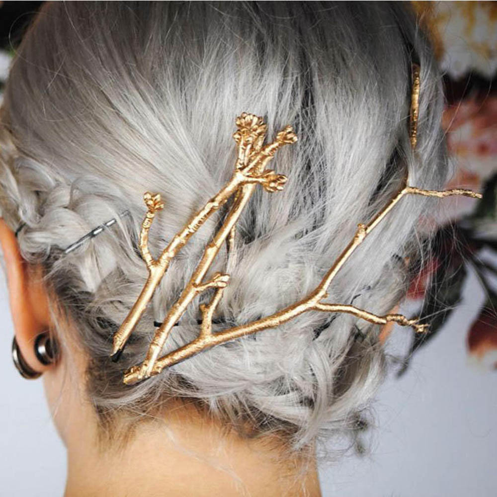 Hollow Golden Tree Branches Hair Clips For Girls Retro Barrette Hair Pins Vintage Fashion Hair Styling Accessories