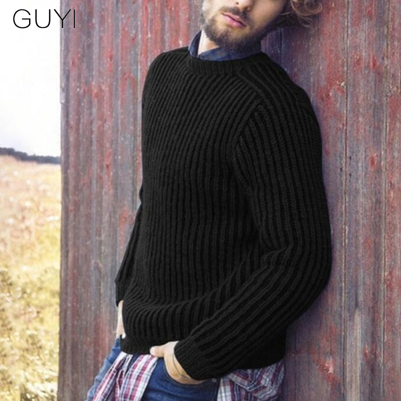 GUYI Black Warm Knitted Basic Sweaters Men Long Sleeve Fitness Preppy Style Grey Pullovers Male Casual Autumn Winter Jumper Tops