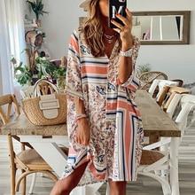 Women's Casual Shirt Dress Summer Turn Down Collar Geometric Print Three Quarter Sleeve Loose Style Dress Female Vestidos 2021