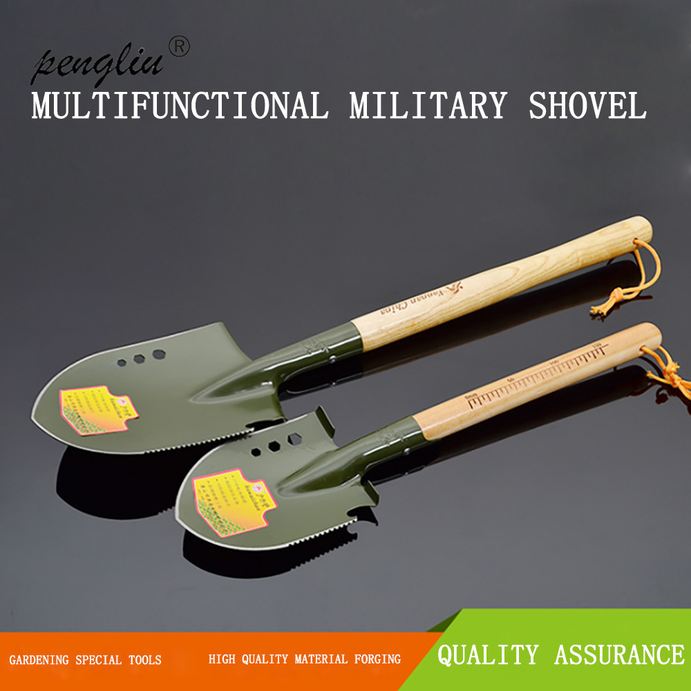 Multifunctional Camping Wooden Handle Military Portable Folding Shovel Survival Shovel Emergency Garden With Scale Tool GT132