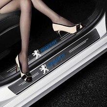 Стайлинг автомобиля 4 шт. наклейки из углеродного волокна на порог двери наклейки из углеродного волокна для Peugeot 206 207 208 306 307 308 407 408 508 2008 3008