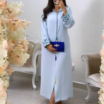Jellaba Dress Kaftan Women Embroidery Floral Dubai Abaya hijab Hooded Elegant Islam Muslim Long Dresses Maxi Robe Femme 2021 2