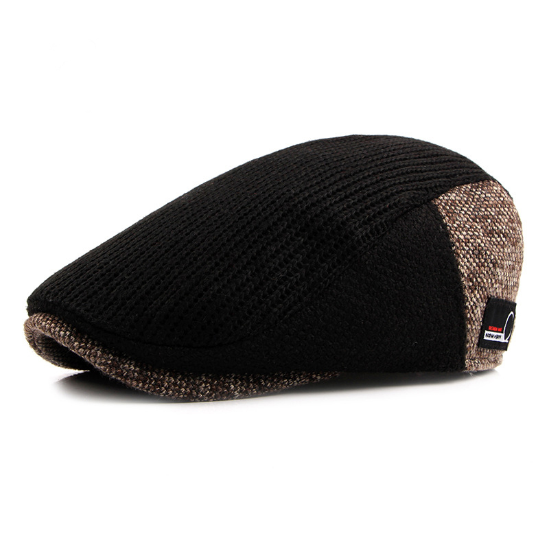 Vintage Cap Autumn Winter Retro Newsboy Hat Men Patchwork Woolen Knitted Hat, Cabbie Flat Caps