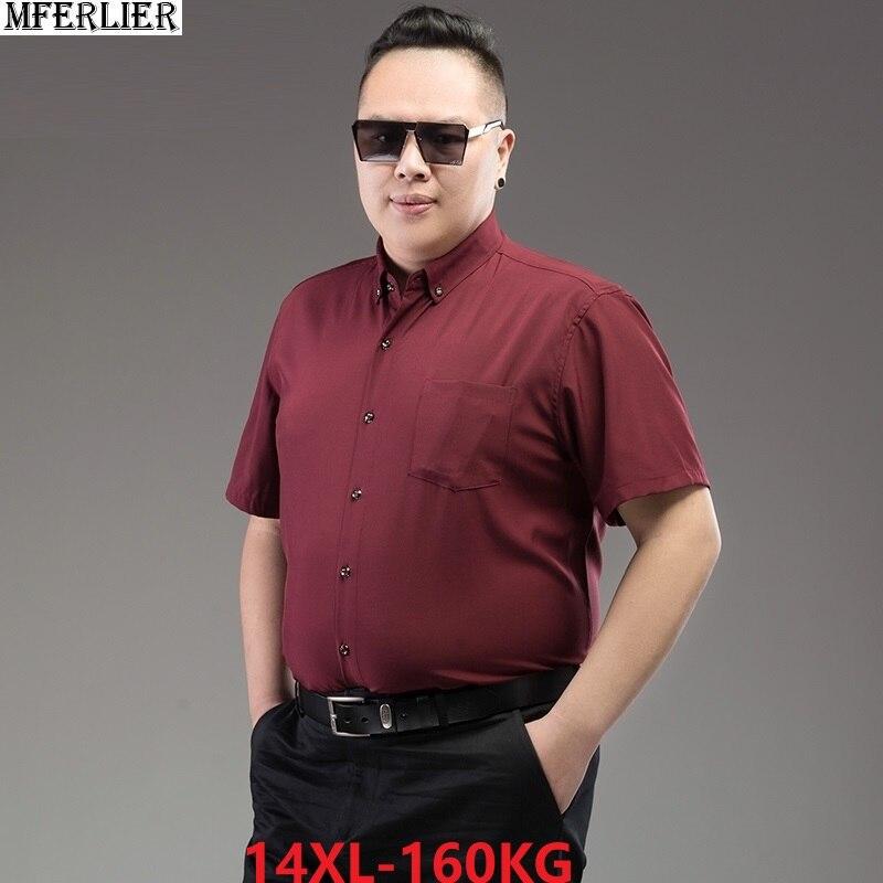 Summer Men Plus Size Short Sleeve Shirt Formal 8XL 9XL 10XL 12XL 14XL Dress Shirt Cotton Red Wine Blue Work Business 58 60 62 64