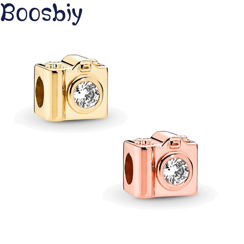 Boosbiy 2pc Rose Gold/Gold Exquisite Camera Charm Beads fit Pandora Charm Bracelets & Bangles for Women Fashion Jewelry Making image