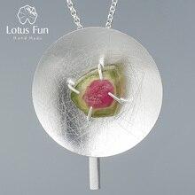 Lotusสนุกจริง 925 เงินสเตอร์ลิงธรรมชาติอัญมณีแท้เครื่องประดับบุคลิกภาพรอบสร้อยคอจี้สำหรับผู้หญิง