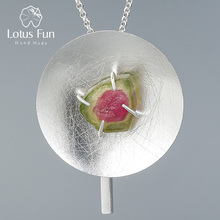 Lotus Fun collar redondo con colgante de piedras preciosas naturales, joyería fina Original, con personalidad