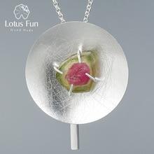 Lotus eğlenceli gerçek 925 ayar gümüş doğal taş orijinal güzel takı kişilik yuvarlak kolye kadınlar için kolye ile
