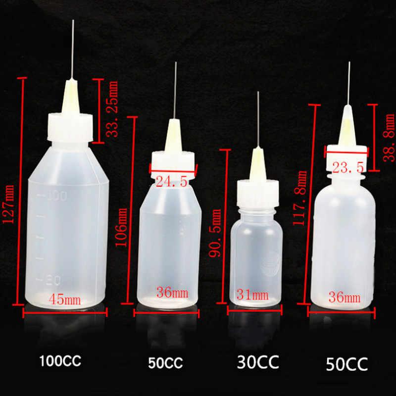 Soldando a ferramenta de reparo da soldadura da garrafa do fluxo líquido parte o álcool plástico vazio da resina para a pasta do fluxo da solda agulhas 50ml