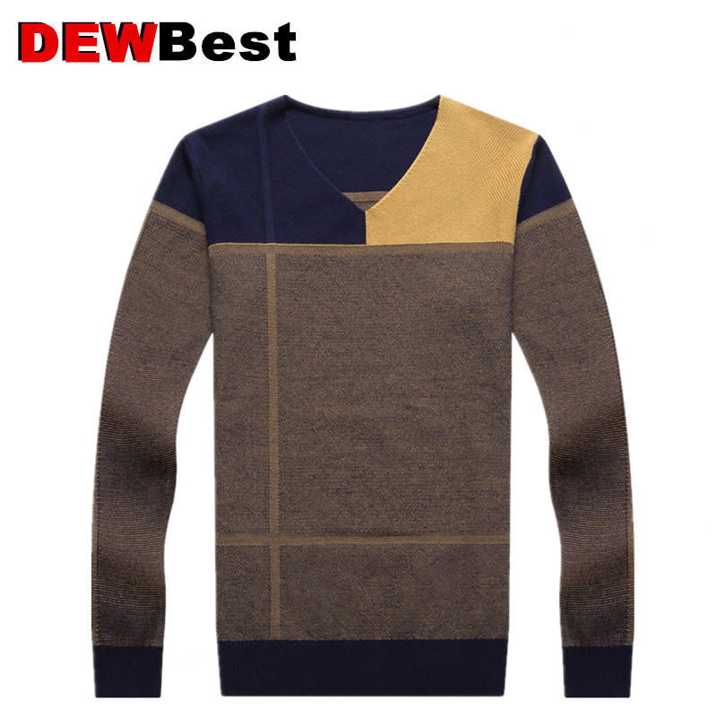 Sweater Men Autumn Winter Thick Warm Mens Sweaters Casual Patchwork V-Neck Pullover Men Wool Knitwear Jersey Hombre