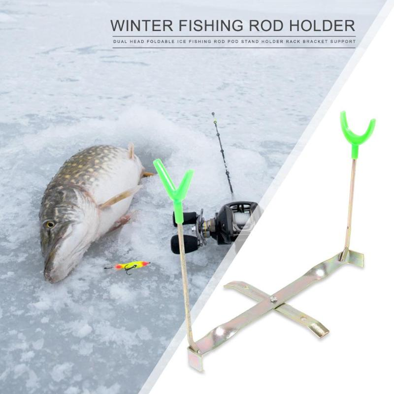 Dual Head Foldable Ice Fishing Rod Pod Stand Holder Rack Bracket Support