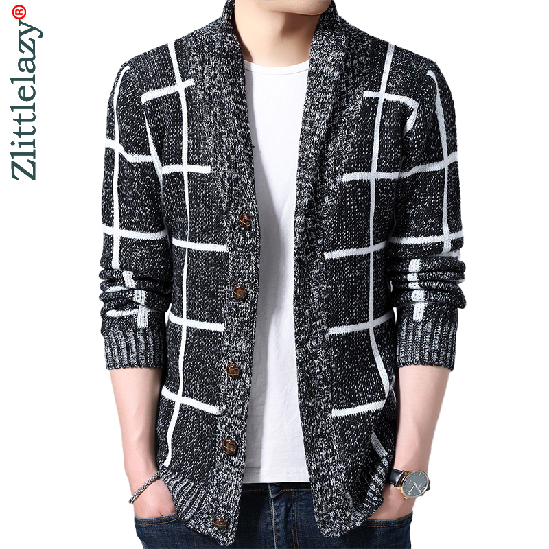 2019 Brand Thick Warm Winter Plaid Knitted Pull Sweater Men Wear Jersey Mens Cardigan Knit Mens Sweaters Male Fashions 90371