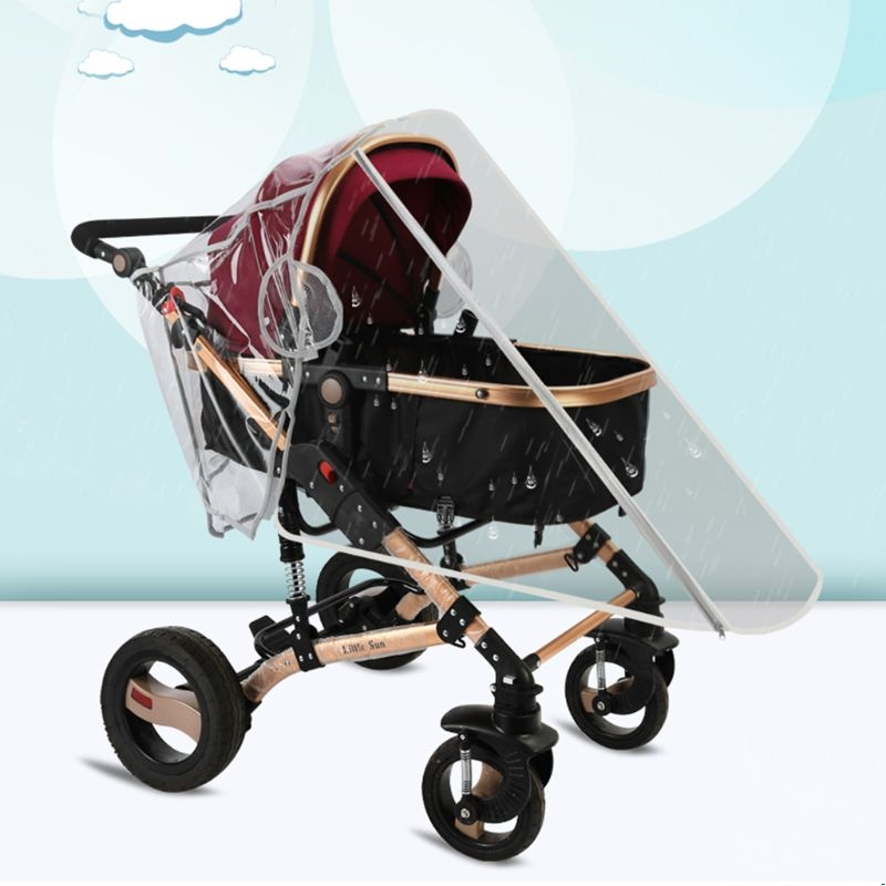 Stroller Waterproof Rain Cover Transparent Wind Dust Shield Zipper Open Raincoat
