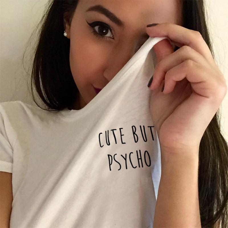 Funny Shirt Quote Pocket Tumblr Casual Tees Instagram Cute But Psycho Teen Fashion T Women Shirts Aliexpress