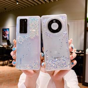 Image 1 - Glitter Diamond Liquid Transparent Silicone Phone Case For Huawei P40 P30 Pro Nova 7 8 Mate 30 40 Pro Quicksand Soft TPU Cover