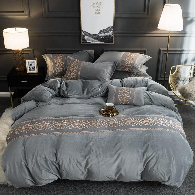 Flanela de veludo macio quente capa de edredão conjunto com chique bordado rendas rainha rei tamanho 4 pçs conjunto cama com cabido/plana lençóis - 5