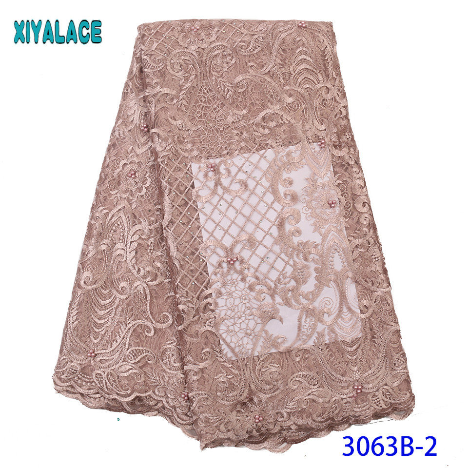 New Beads Lace Fabric 2019 High Quality Stones African Lace Fabric Latest French Tulle Lace Fabric For Nigerian Wedding KS3063B