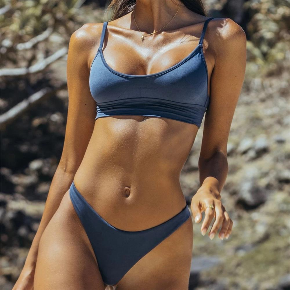 Lady's Blue Sporty Bikini Set Fashion Bikinis Wome's Swimsuit Holiday Beachwear Swimwear Women Bathing Suit Swimming Suit XL
