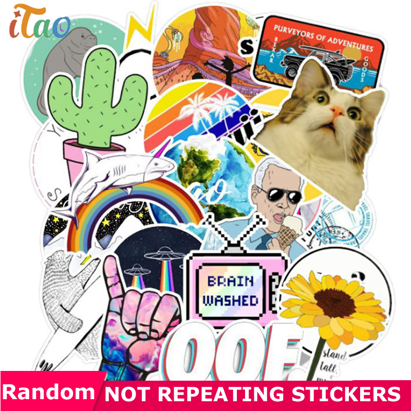 10/20/30/40/50PCS Cartoon Cool Stickers Waterproof PVC Guitar Laptop Motorcycle Snowboard Luggage Car Vsco Girl Sticker Kids Toy