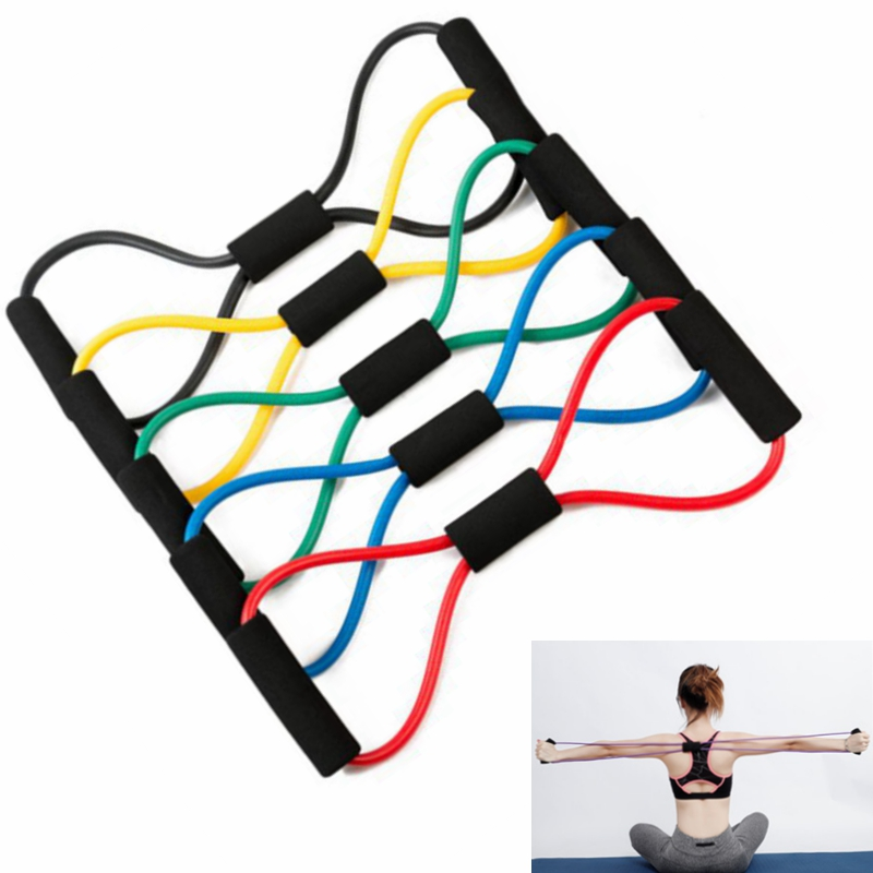 Yoga Fitness Gum Resistance Bands 8 Word Chest Expander Rope Workout Muscle Fitness Rubber Elastic Bands For Sports Exercise