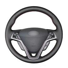 غطاء عجلة قيادة من الجلد الصناعي ، مخيط يدويًا ، أسود ، لشركة Hyundai Veloster 2011 ، 2012 ، 2013 ، 2014 ، 2015 ، 2016 ، 2017