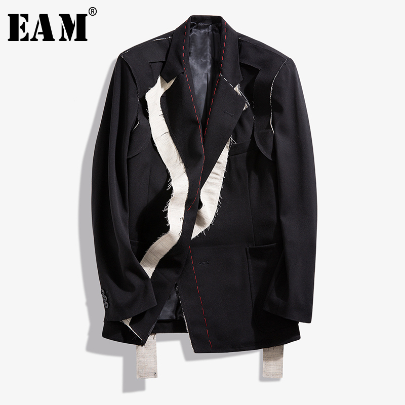 [EAM]  Women Black Contrast Color Burr Split Blazer New Lapel Long Sleeve Loose Fit  Jacket Fashion Spring Autumn 2020 1N048
