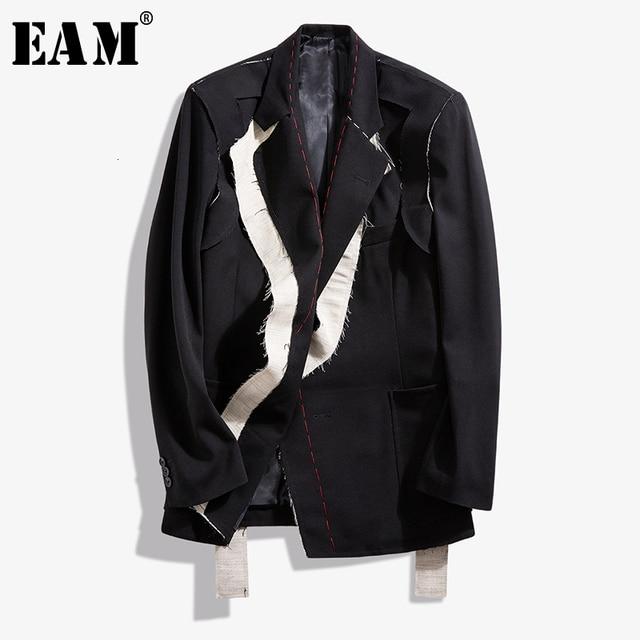 [EAM]  Women Black Contrast Color Burr Split Blazer New Lapel Long Sleeve Loose Fit  Jacket Fashion Spring Autumn 2020 1N048