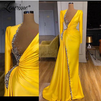 2020 Plus Size Evening Gown Formal Evening Dresses Mermaid Long Sleeves Crystals Party Dress Celebrity Dresses Robe De Soiree