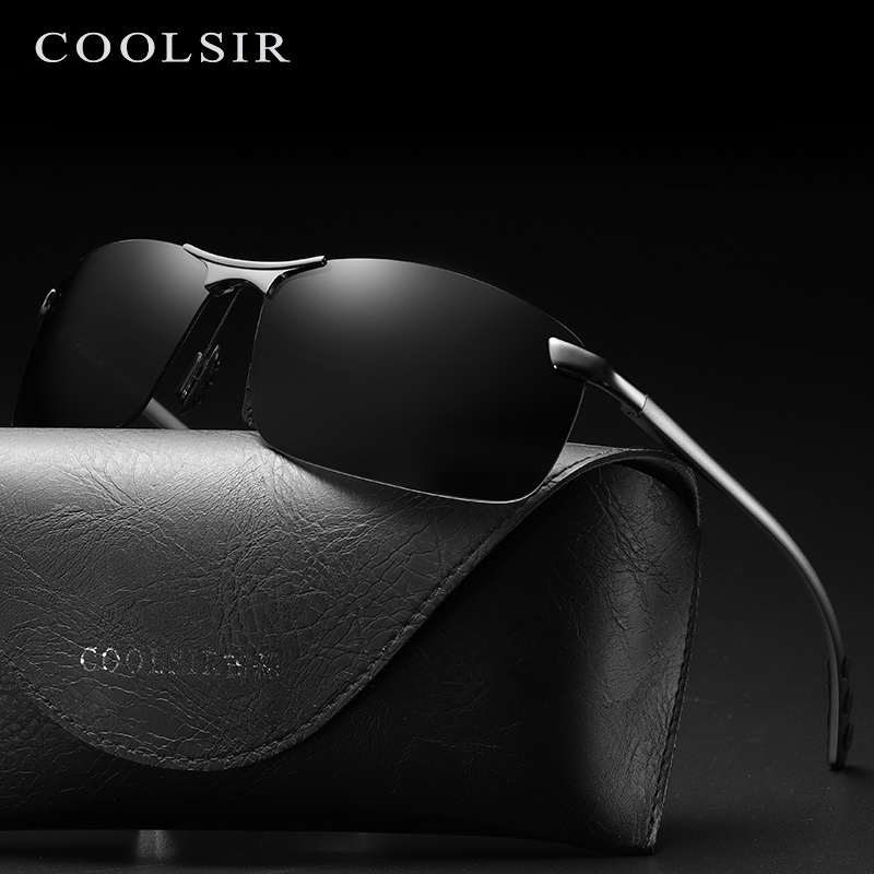 Coolsir Brand Men Sunglasses 6115 Half-frame Sports Polarized Sun Glasses Anti-glare Aluminum Feet Square Driving Eyewear