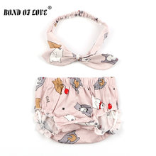 Baby Bloomers and Headband Cotton Shorts For Girls Boys Shorts Children Harem Short 3 Color Cartoon Bear Print Newborn Clothes(China)