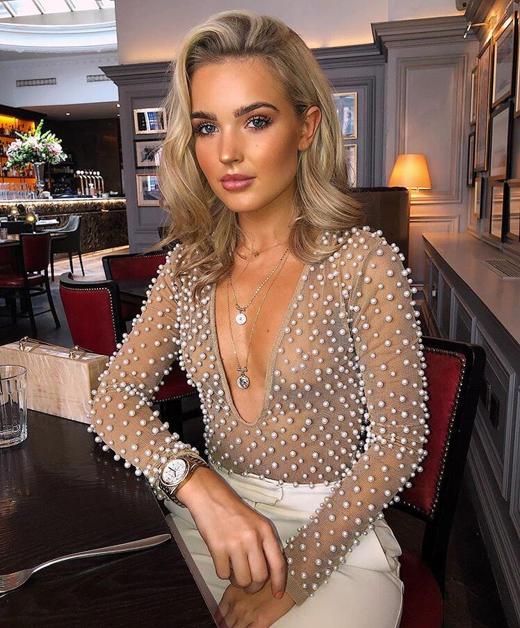 2020 Women Sexy Fashion V Neck Beading Mesh Bodysuit One Piece Designer Long Sleeve High Street Party Bodysuit