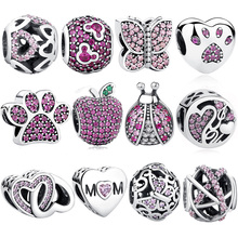 ELESHE Authentic 925 Sterling Silver Charms Beads Fit Original Pandora Charms Bracelet Necklace Pendant DIY Jewelry Making