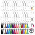 120pc/set Acrylic Clear Keychain Rings Transparent Blank Round Circle Tassels Keyring Set DIY To Drawing, Carving, Sticker Decor