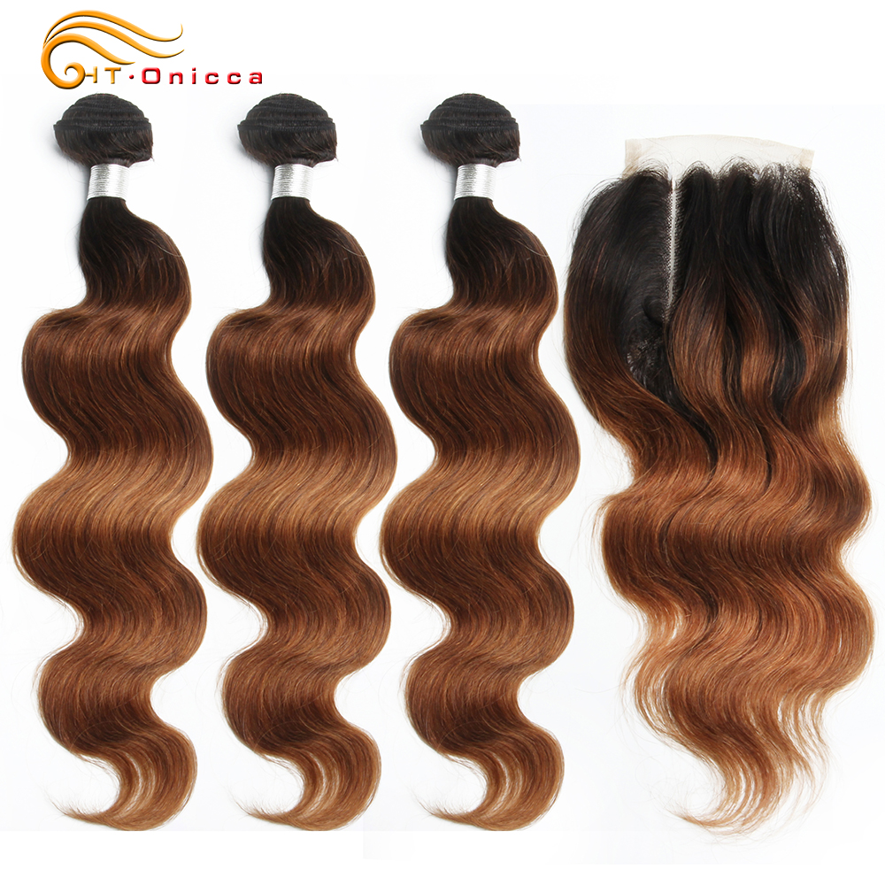 Ombre Brazilian Body Wave Bundles With Closure 70g/pc Human Hair 3 Bundles With Closure 1B/30 Honey Blonde Bundles With Closure