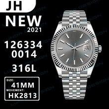U1 reloj automático reloj mecánico 41mm gris 126334 fecha Acero inoxidable zafiro resistente al agua superluminoso hebilla de reloj para hombre