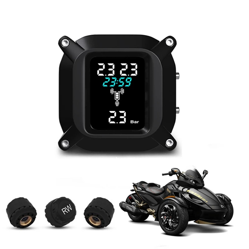 Motorcycle Trikes Tire Pressure Alarm Monitoring System TPMS Auto Wireless tpms with 3 External Sensor for 3 wheelers